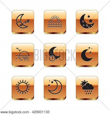 Set Moon Icon, Sun, And Stars, Sleeping Moon, Sunset, Cloud With Rain Sun And Icon. Vector