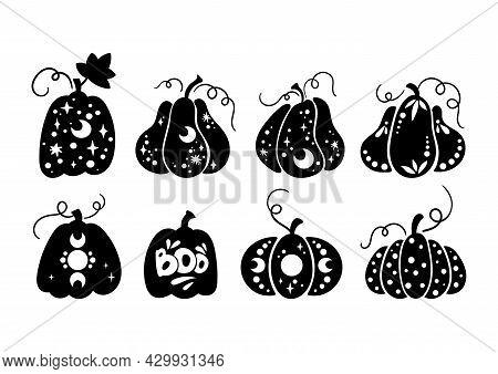 Halloween Celestial Pumpkin Isolated Clipart Set, Fall Magic Pumpkin Silhouette, Creepy Carved Pumpk