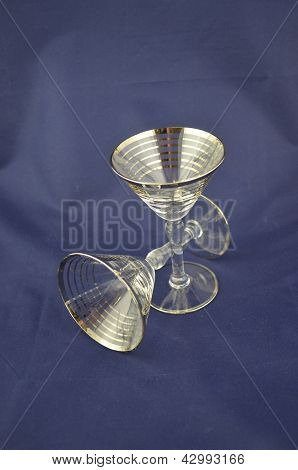 Silver rimmed cocktail glasses