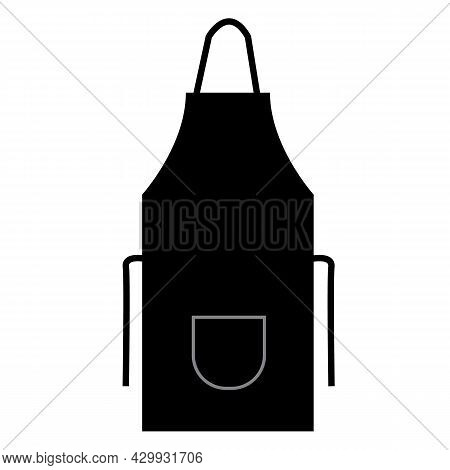Black Kitchen Apron On White Background. Chef Uniform For Cooking Sign. Chef Apron Symbol. Flat Styl