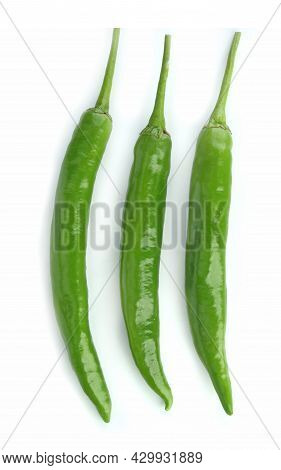 Top View Of Green Chili Isolated On White Background