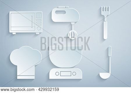 Set Electronic Scales, Fork, Chef Hat, Kitchen Ladle, Electric Mixer And Microwave Oven Icon. Vector