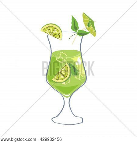 Cocktail Mojito Alcohol Drinks Icon. Summer Beverage, Vector Illustration Cartoon