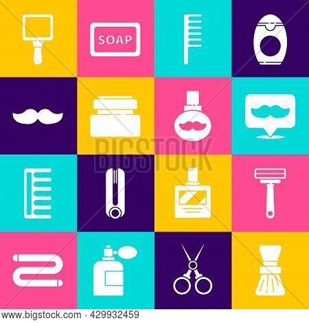 Set Shaving Brush, Razor, Barbershop, Hairbrush, Cream Lotion Cosmetic Tube, Mustache, Hand Mirror A