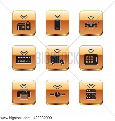 Set Smart Home With Wireless, Printer, Smartwatch, Truck, Wireless Keyboard, Drone, Server And Smart
