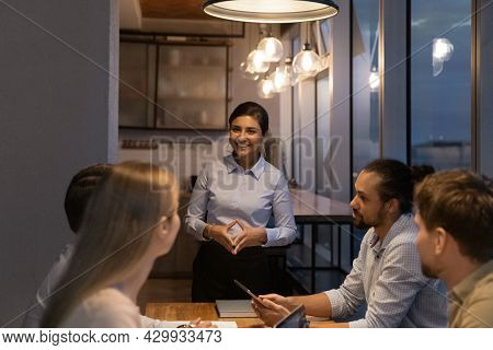 Diverse Startup Business Team Gathered Together In Modern Office Boardroom