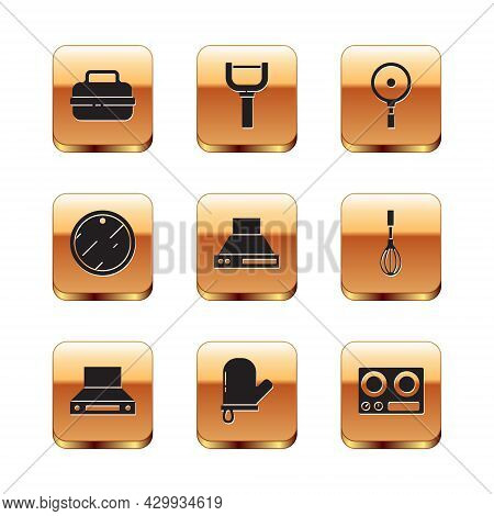 Set Cooking Pot, Kitchen Extractor Fan, Oven Glove, Cutting Board, Frying Pan, Gas Stove And Peeler