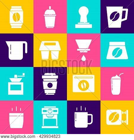Set Street Signboard Coffee, Milkshake, Bag Beans, Coffee Tamper, Cup To Go, Pot, And V60 Maker Icon