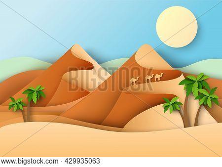 Three Camels Roaming Desert, Vector Paper Cut Illustration. Sand Dunes, Desert Landscape.