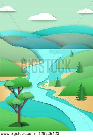 River Flowing Along Green Hills, Mountains, Vector Paper Cut Illustration. Nature Landscape, Environ