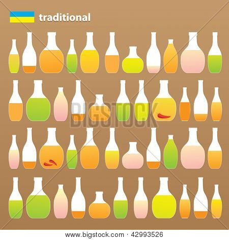 Collection of traditional alcoholic beverages - liquor, vodka, vodka with pepper gorilka. Alcohol Russia and Ukraine. vector
