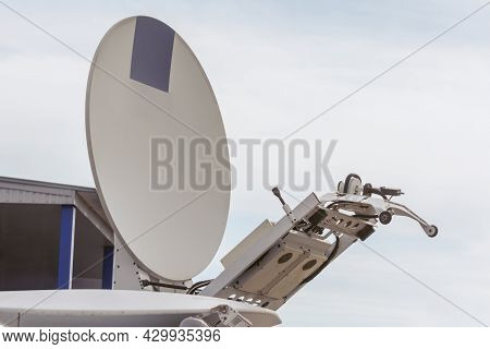 Satellite Dish For Tv Broadcast And Live Broadcast On The Roof Of The Car