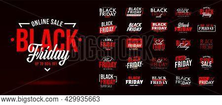 Black Friday Sale Banner Template. Sticker Half Price, Badge, Poster Or Super Sale Announcing Black
