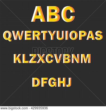 Brilliant Yellow Honey English Alphabet On Black Background