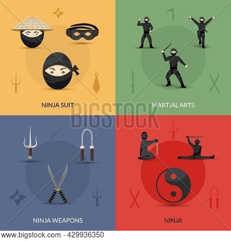Ninja Design Concept Set With Suit Weapon And Martial Arts Flat Icons Isolated Vector Illustration