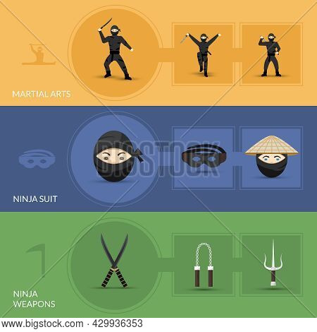 Ninja Horizontal Banners Set With Suit Weapon And Martial Arts Elements Isolated Vector Illustration