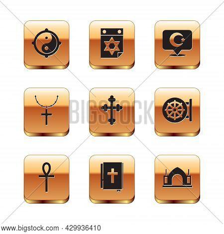 Set Yin Yang, Cross Ankh, Holy Bible Book, Christian Cross, On Chain, Star And Crescent, Hindu Spiri