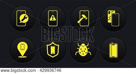 Set Phone Repair Service, Mobile With Broken Screen, Shield, System Bug, Exclamation Mark, Glass Pro