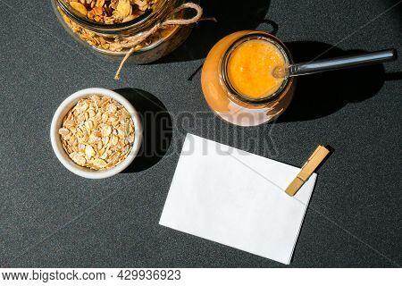 Seasonal Pumpkin Carrot Smoothie Drink Detox With Eco Metal Drinking Straw Glass Jar Granola Muesli