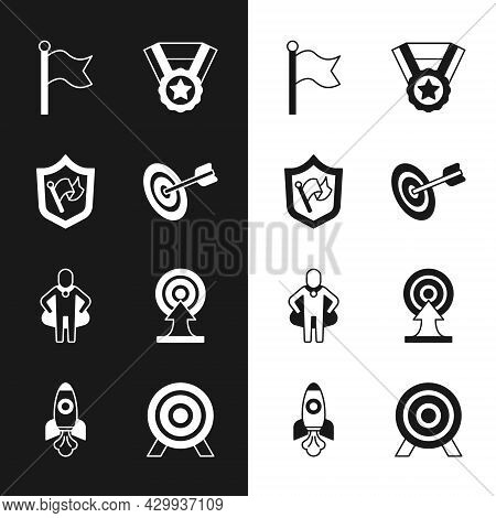 Set Target, Shield With Flag, Flag, Medal, Head Hunting, Arrow, And Rocket Ship Icon. Vector