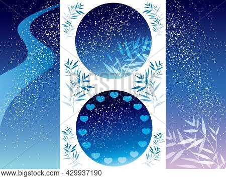 Milky Way And Bamboo Leaves Background Set For The Japanese Tanabata Star Festival, Vector Illustrat
