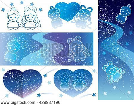 Set Of Tanabata Star Festival Vector Backgrounds And Design Elements With The Milky Way.