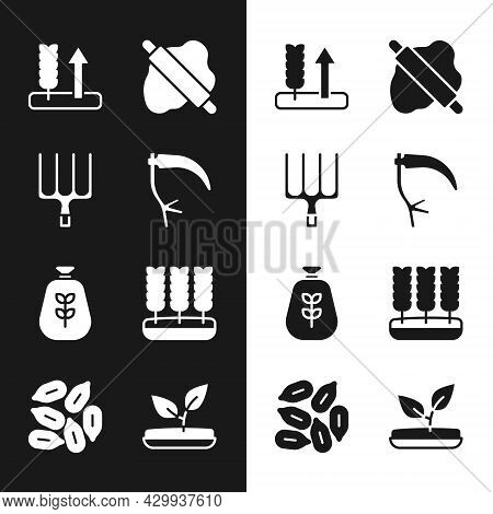 Set Scythe, Garden Pitchfork, Wheat, Rolling Pin On Dough, Bag Of Flour, Sprout And Seed Icon. Vecto