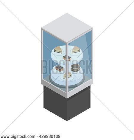 Cafe Showcase Stand With Various Desserts 3d Isometric Vector Illustration