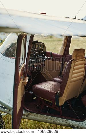 Close Up Of Retro Cockpit In The Airplane
