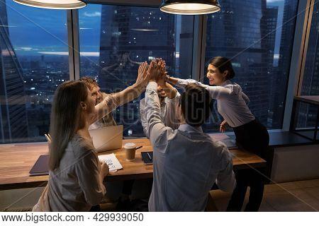 Multi Ethnic Employees Accomplish Meeting Giving High Five Feels Overjoyed