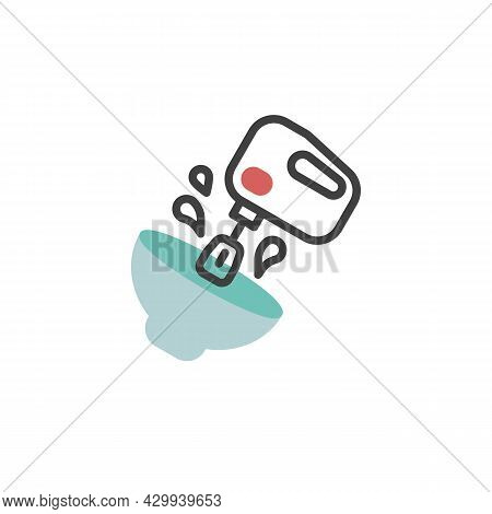 Blender And Bowl Flat Icon, Vector Sign, Mixing Bowl With Mixer Colorful Pictogram Isolated On White
