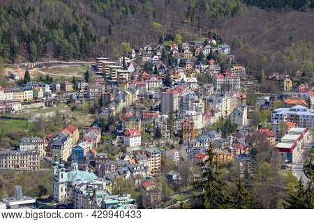 Karlovy Vary, Czech - April 26, 2012: This Is An Aerial View Of The Western Upland Part Of The Resor