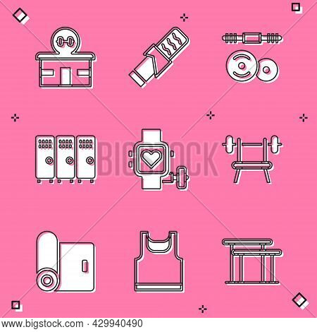 Set Gym Building, Protein Sport Bar, Barbell, Locker Changing Room, Smart Watch With Heart, Bench Ba