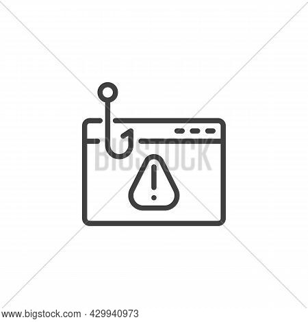 Phishing Website Line Icon. Linear Style Sign For Mobile Concept And Web Design. Hacking Webpage Out