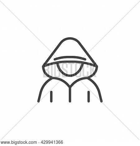Faceless Hacker Line Icon. Linear Style Sign For Mobile Concept And Web Design. Computer Hacker Outl