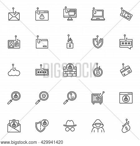 Phishing Scams Line Icons Set. Cyber Attack Linear Style Symbols Collection, Outline Signs Pack. Phi