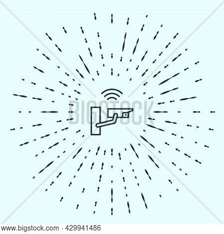 Black Line Smart Security Camera Icon Isolated On Grey Background. Internet Of Things Concept With W