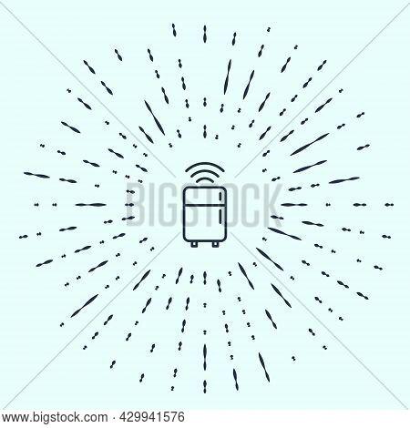 Black Line Smart Refrigerator Icon Isolated On Grey Background. Fridge Freezer Refrigerator. Interne