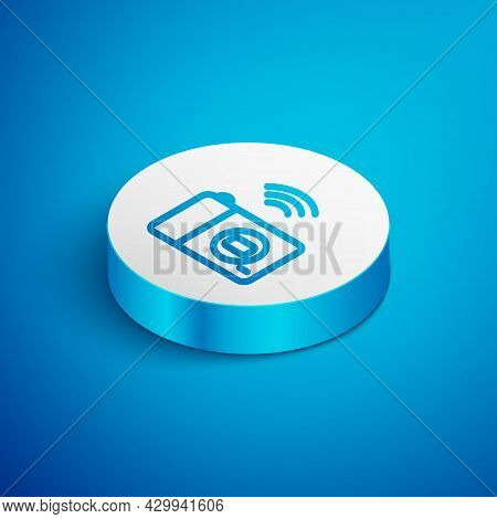 Isometric Line Smart Photo Camera System Icon Isolated On Blue Background. Internet Of Things Concep
