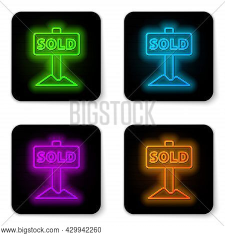 Glowing Neon Line Hanging Sign With Text Sold Icon Isolated On White Background. Sold Sticker. Sold