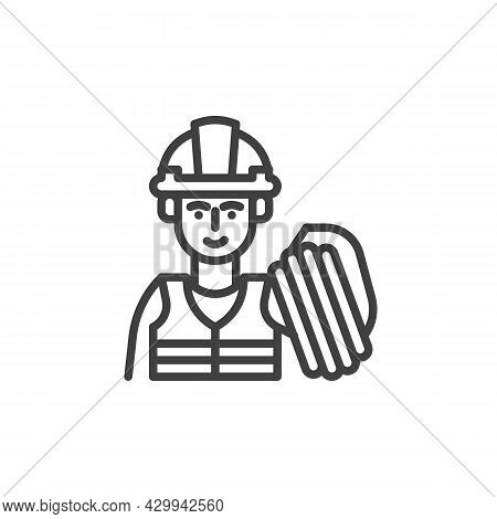 Construction Builder Line Icon. Linear Style Sign For Mobile Concept And Web Design. Builder Worker