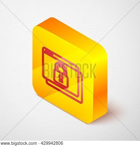 Isometric Line Secure Your Site With Https, Ssl Icon Isolated On Grey Background. Internet Communica