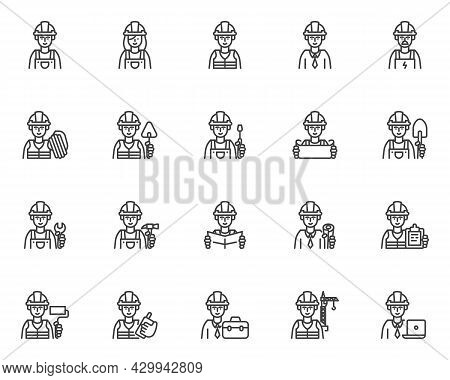 Construction Workers Line Icons Set. Linear Style Symbols Collection, Outline Signs Pack. Constructi