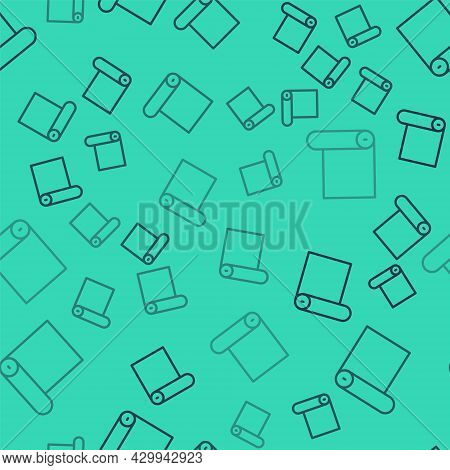 Black Line Fitness Mat Roll Icon Isolated Seamless Pattern On Green Background. Yoga Mat Rolled. Spo