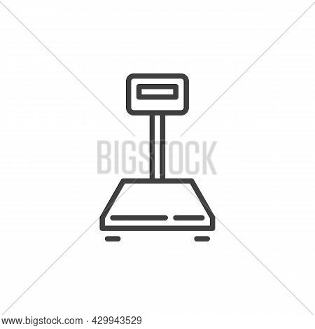 Warehouse Scales Line Icon. Linear Style Sign For Mobile Concept And Web Design. Weighing Scales Out