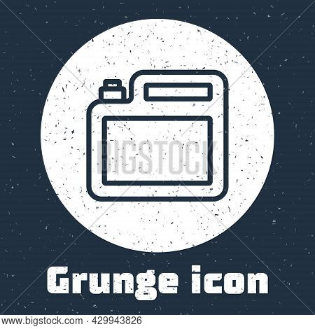Grunge Line Canister For Motor Machine Oil Icon Isolated On Grey Background. Oil Gallon. Oil Change