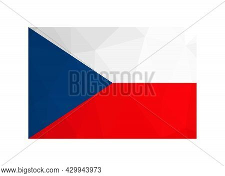 Vector Isolated Illustration. National Czech Flag With Red; White, Blue Colors. Official Symbol Of C