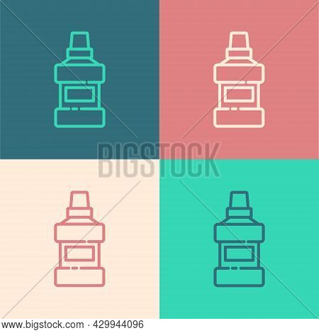 Pop Art Line Mouthwash Plastic Bottle And Glass Icon Isolated On Color Background. Liquid For Rinsin