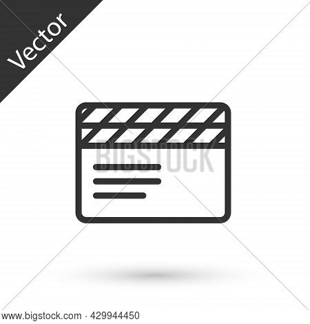 Grey Line Movie Clapper Icon Isolated On White Background. Film Clapper Board. Clapperboard Sign. Ci