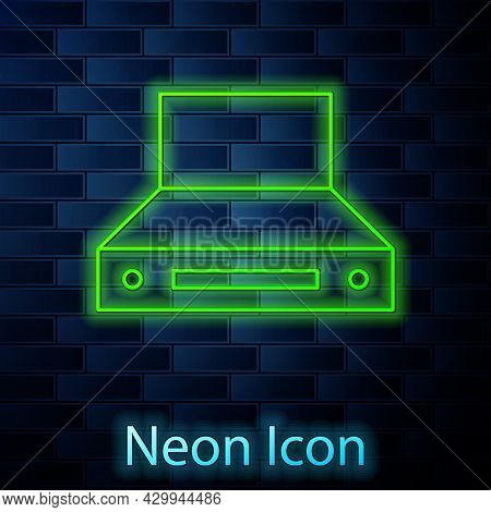 Glowing Neon Line Kitchen Extractor Fan Icon Isolated On Brick Wall Background. Cooker Hood. Kitchen